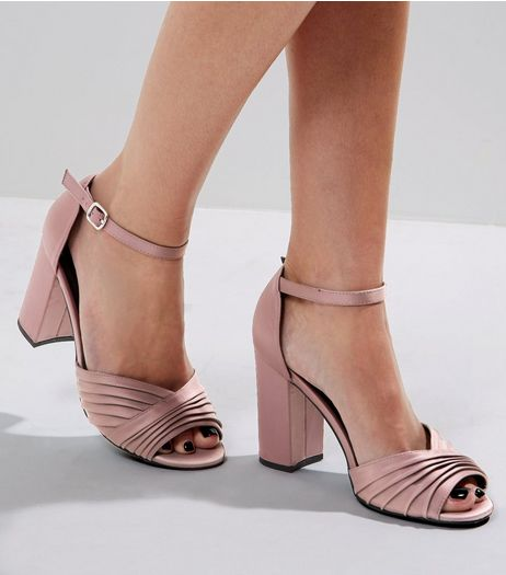 Pink Sateen Pleated Front Heels | New Look