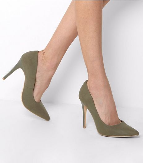 Khaki Suedette Matte Heel Court Shoes | New Look