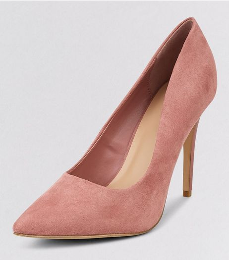 Pink Suedette Matte Heel Pointed Court Shoes | New Look