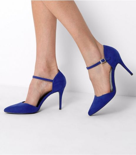 Blue Suedette Pointed Ankle Strap Heels | New Look