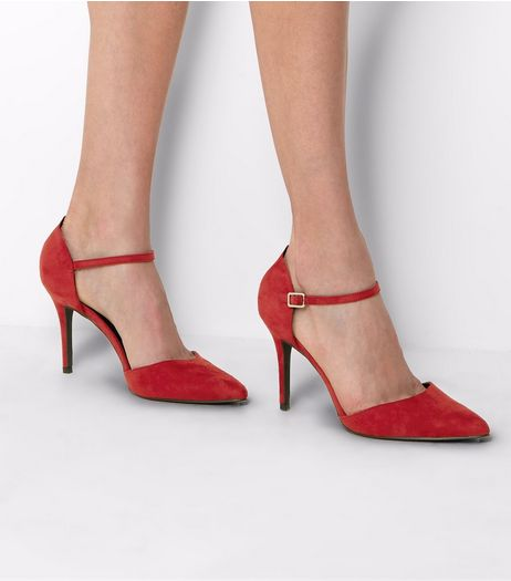 Red Suedette Pointed Ankle Strap Heels  | New Look