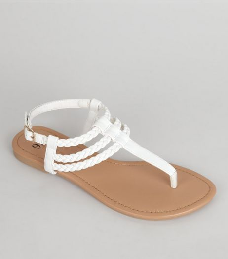 Teens White Plaited Strap Sandals | New Look
