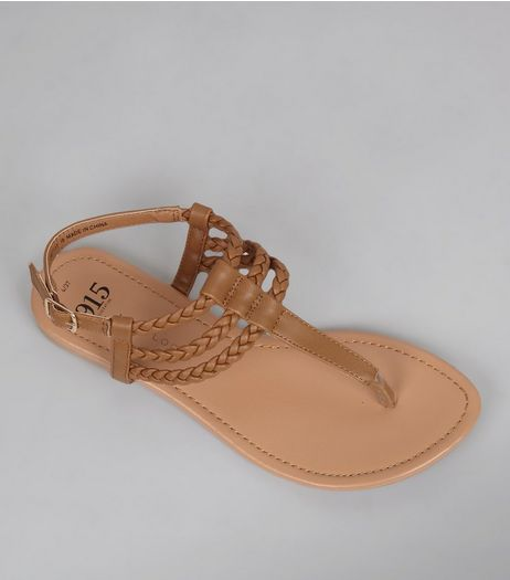 Teens Brown Triple Plait Sandals | New Look