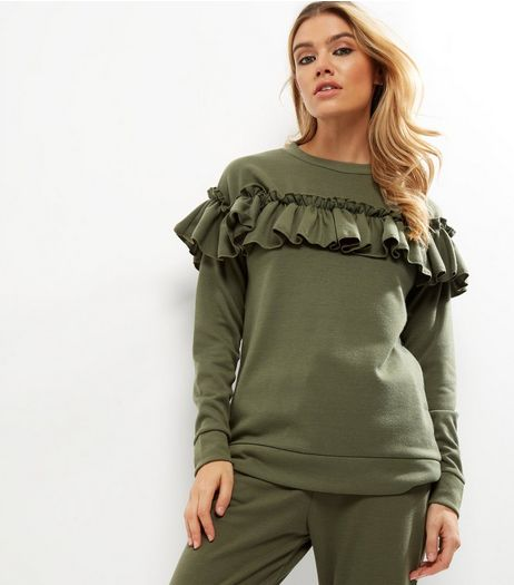 Cameo Rose Khaki Frill Trim Jumper  | New Look