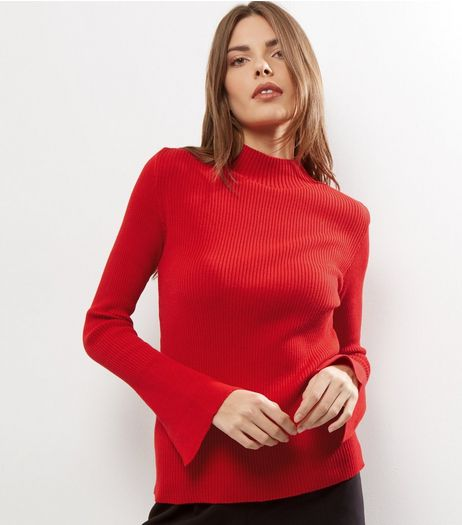 Red Knitted Funnel Neck Split Sleeve Jumper  | New Look