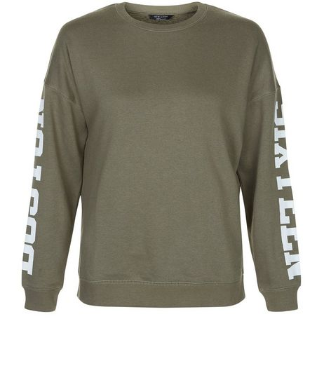 Teens Khaki Boston Sixteen Print Sleeve Sweater | New Look