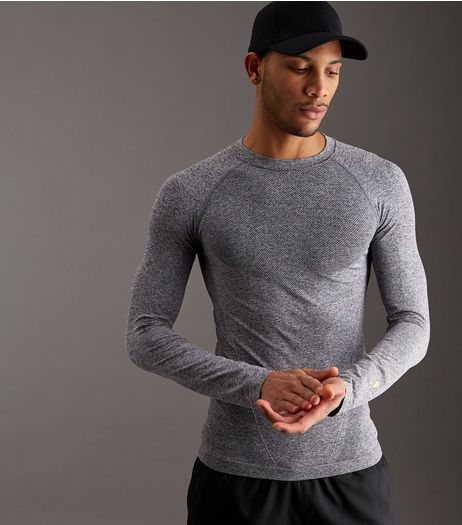 Grey Seamless Long Sleeve Sports T-Shirt | New Look