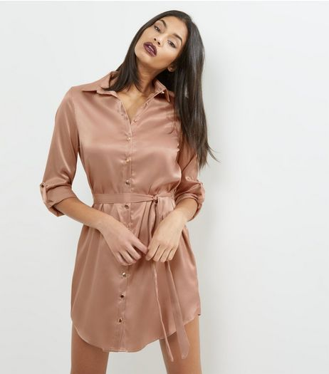 Shell Pink Sateen Belted Shirt Dress | New Look