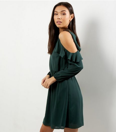 Dark Green Frill Trim Cold Shoulder Dress | New Look