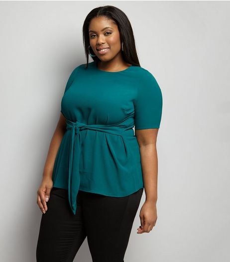 Curves Green Tie Front Short Sleeve Top  | New Look