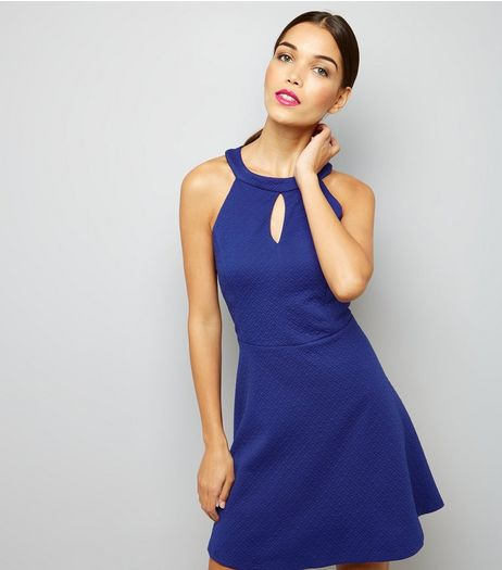 Blue Keyhole Front Skater Dress  | New Look