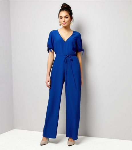 Blue Tie Sleeve Jumpsuit  | New Look