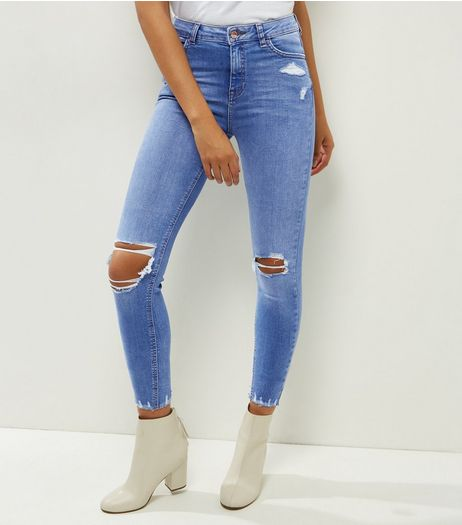 Blue Ripped Fray Hem Skinny Jeans  | New Look