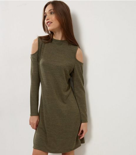 Khaki Cold Shoulder Swing Dress | New Look