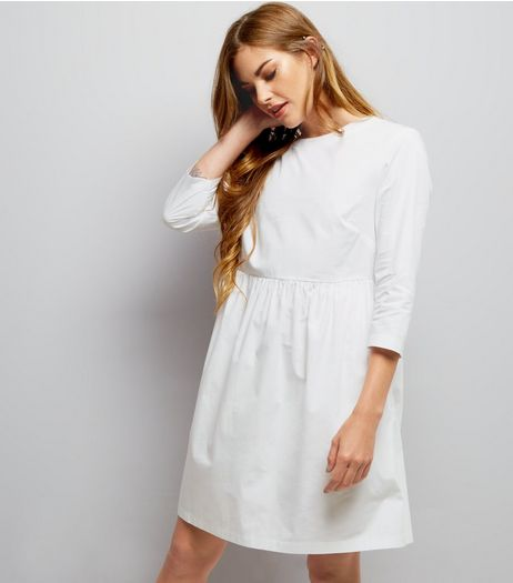 White Cotton Smock Dress  | New Look