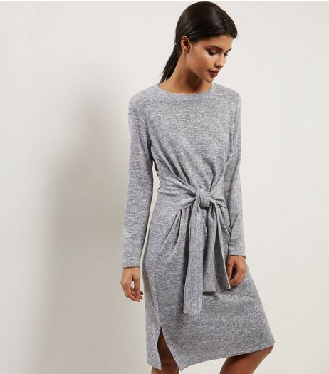Grey Tie Front Midi Dress | New Look