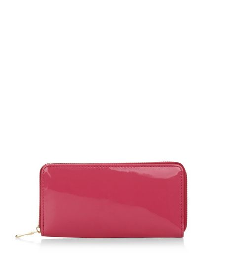 Pink Patent Zip Around Purse | New Look