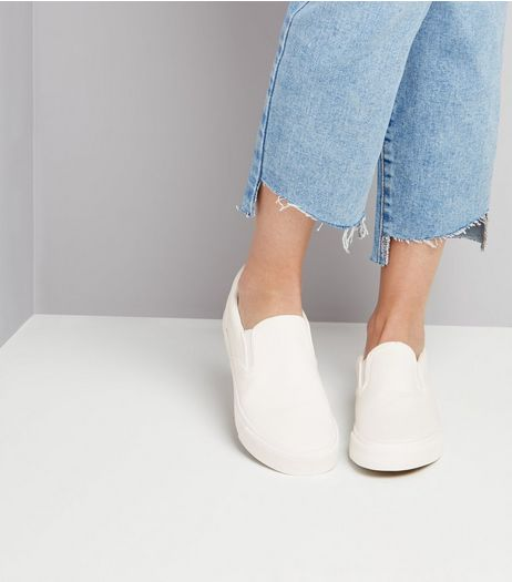 White Canvas Plimsolls | New Look