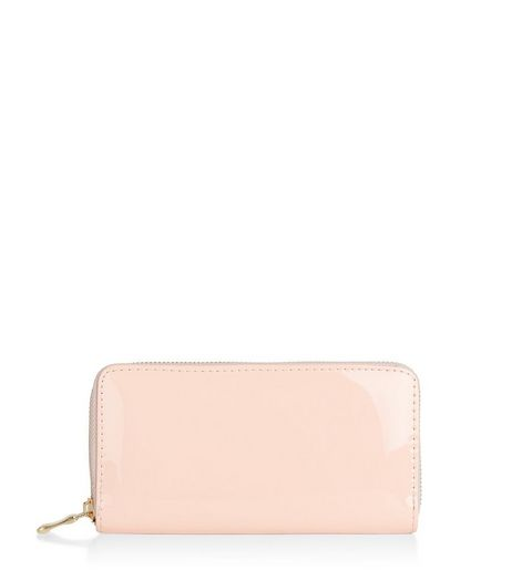 Shell Pink Patent Zip Around Purse  | New Look