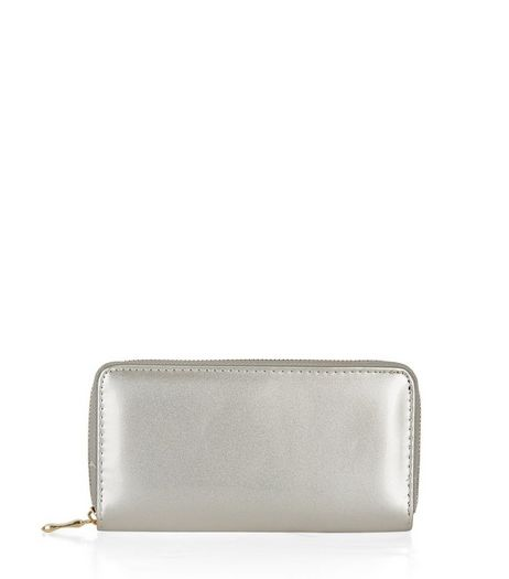 Silver Patent Zip Around Purse  | New Look