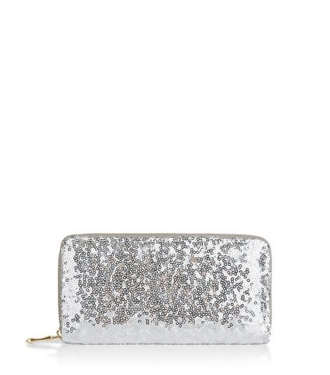 Silver Sequin Zip Around Purse  | New Look
