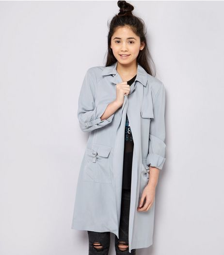 Teens Grey D-Ring Pocket Mac | New Look