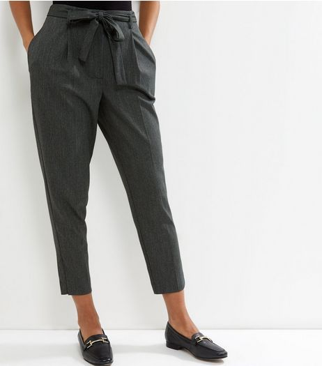 Dark Green Tie Waist Cropped Trousers  | New Look