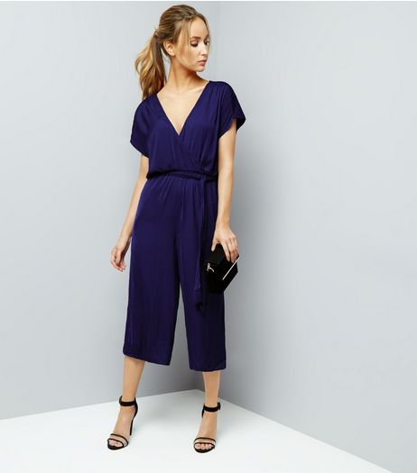Blue Wrap Front Culotte Jumpsuit | New Look
