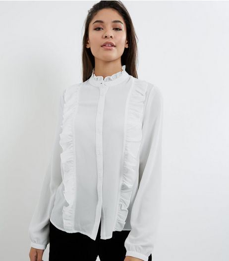 Cream Funnel Neck Frill Trim Shirt | New Look
