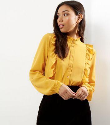 Yellow Yoke Frill Trim Long Sleeve Shirt