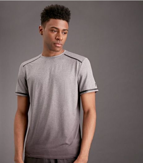 Grey Ombre Space Dye Sports T-Shirt | New Look