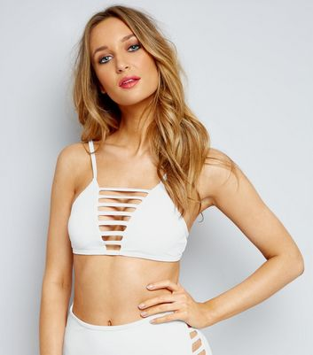 White Lattice Front Bikini Top