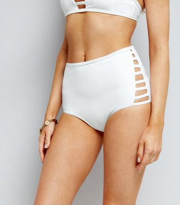 White Lattice Side High Waist Bikini Bottoms