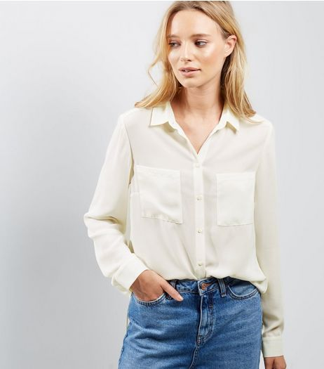 Cream Split Back Double Pocket Front Shirt | New Look