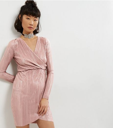 Blue Vanilla Shell Pink Metallic Wrap Front Dress | New Look