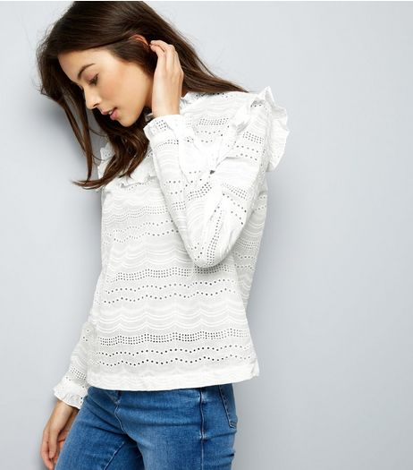 White Cut Out Frill Trim Long Sleeve Top  | New Look