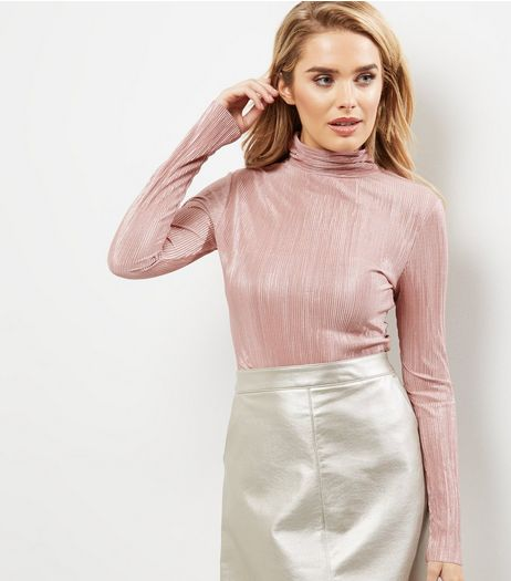 Blue Vanilla Shell Pink Metallic Pleated Bodysuit  | New Look