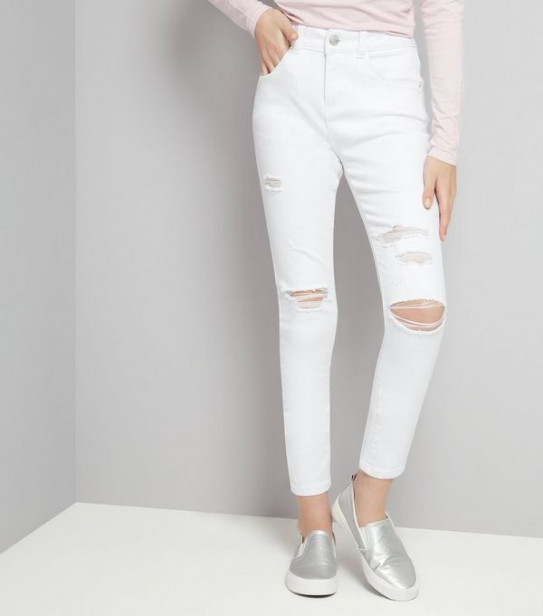 Teens White Ripped Skinny Jeans