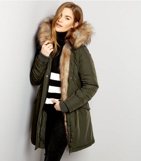 Khaki Faux Fur Lined Hooded Parka | New Look