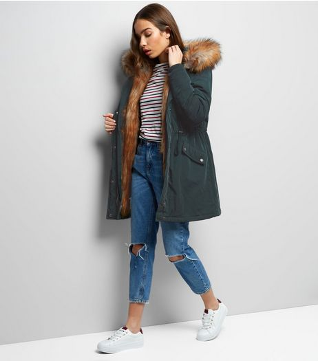 Dark Green Faux Fur Lined Hooded Parka | New Look