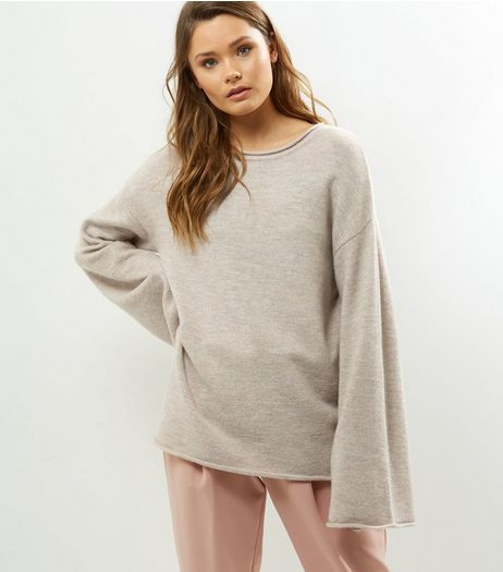 Cream Flared Sleeve Jumper  | New Look