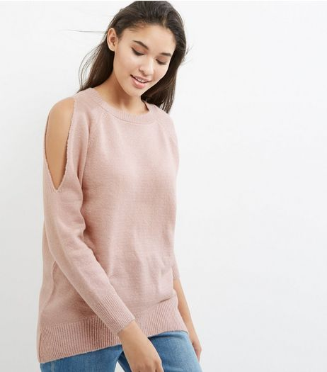 Shell Pink Single Cold Shoulder Jumper  | New Look