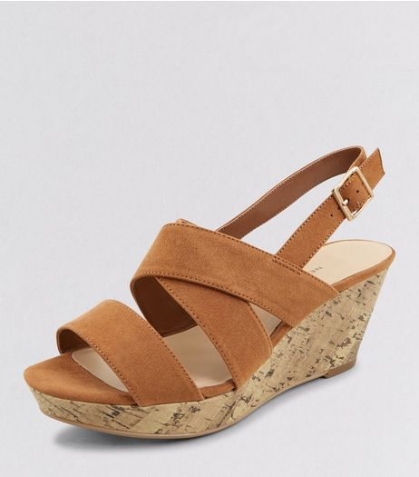 Teens Tan Suedette Contrast Wedges | New Look