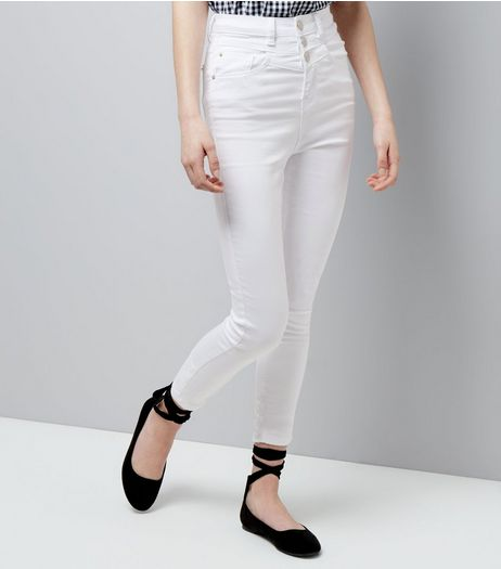 Teens White High Waist Skinny Jeans | New Look