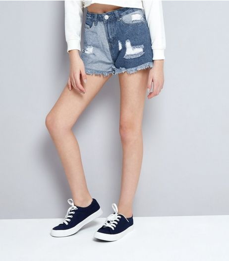 Teens Blue Patch Ripped Denim Shorts | New Look