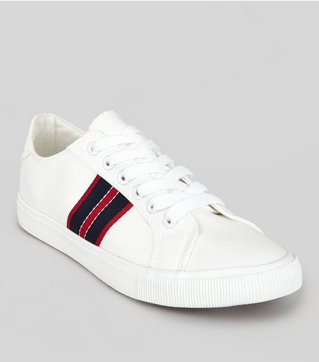 White Contrast Stripe Tape Trainers | New Look