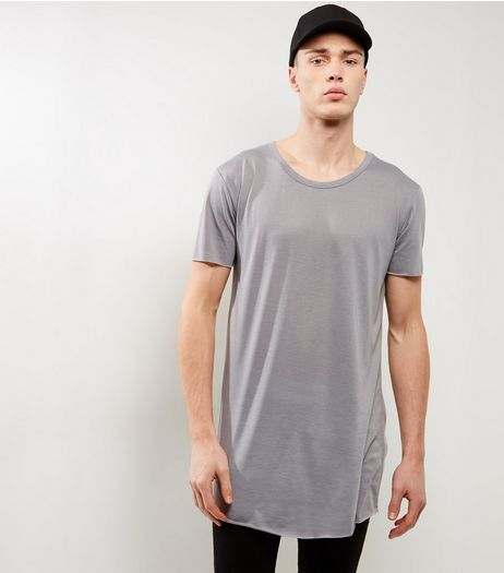 Grey Extreme Longline T-Shirt | New Look
