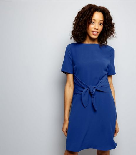 Tall Blue Tie Front A-Line Dress | New Look