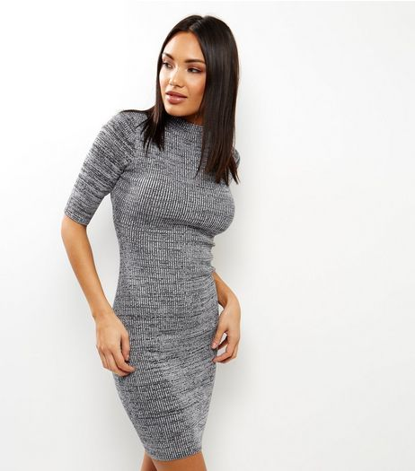 Apricot Grey Ribbed Funnel Neck Dress | New Look