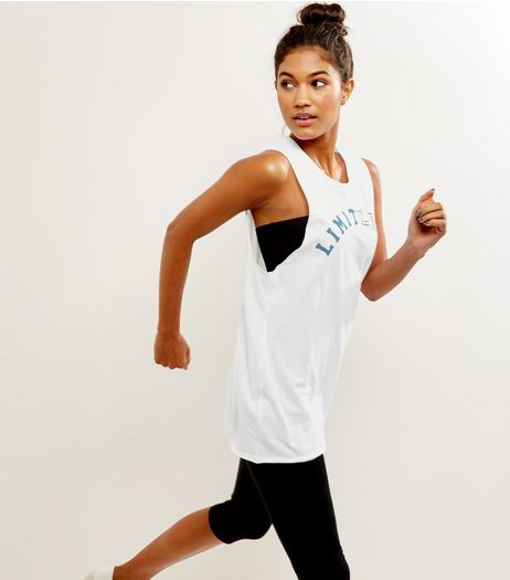 White Limitless Drop Arm Vest | New Look